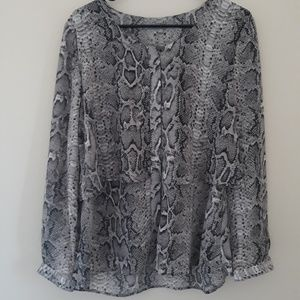NY Collection Two Layered Snake Print Blouse.